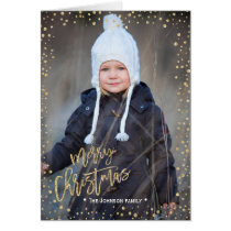 Merry Christmas | Gold Confettie | 2 Photos Card