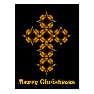 Merry Christmas Gold Cross Fractal Postcard