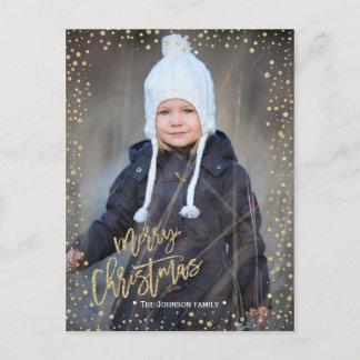 Merry Christmas | gold dots | Photo postcard
