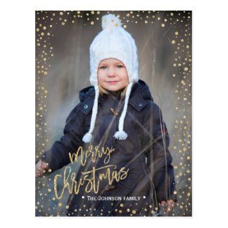Merry Christmas | gold dots | Photo postcard