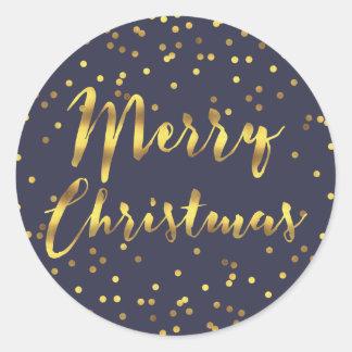 Merry Christmas Gold Foil Confetti Midnight Blue Classic Round Sticker