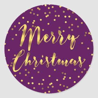 Merry Christmas Gold Foil Confetti Purple Classic Round Sticker