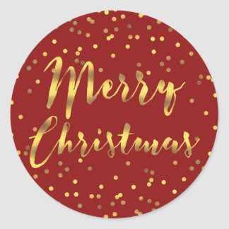 Merry Christmas Gold Foil Confetti Red Classic Round Sticker