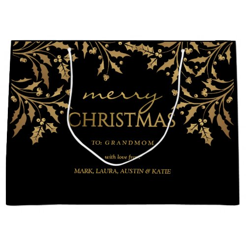 Merry Christmas Gold Foil Holly Garland Large Gift Bag