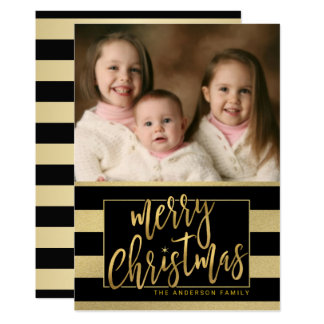 Merry Christmas Gold Foil Striped Flat Photo Card