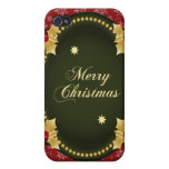 Merry Christmas Gold Frame with Holly iPhone 4 Covers