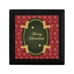 Merry Christmas Gold Frame with Holly Jewelry Box