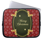 Merry Christmas Gold Frame with Holly Laptop Computer Sleeves