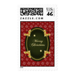 Merry Christmas Gold Frame with Holly Postage Stamp