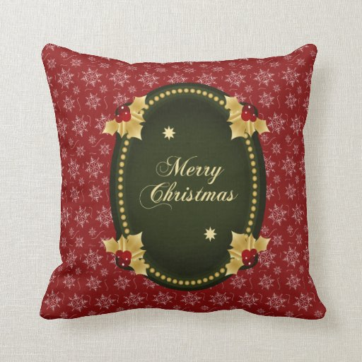 Merry Christmas Gold Frame with Holly Throw Pillow