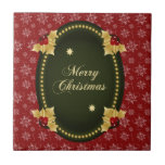 Merry Christmas Gold Frame with Holly Ceramic Tiles