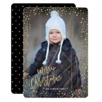Merry Christmas | Gold | Glitter Dots | Photo Card