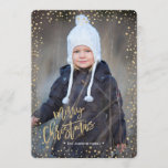 "Merry Christmas | Gold | Glitter Dots | Photo Card<br><div class=""desc"">Cartita design &#169;2016 All Rights Reserved