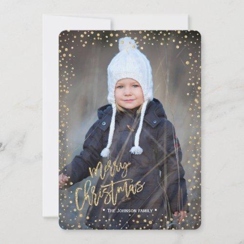 Merry Christmas  Gold  Glitter Dots  Photo Card
