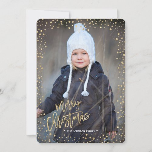 Merry Christmas  Gold  Glitter Dots  Photo Card