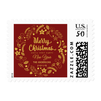 MERRY CHRISTMAS GOLD GLITTER FLORAL WREATH HOLIDAY POSTAGE