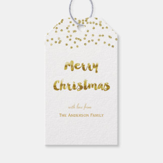 Merry Christmas gold glitter gift tags