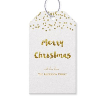 Christmas Themed Merry Christmas gold glitter gift tags