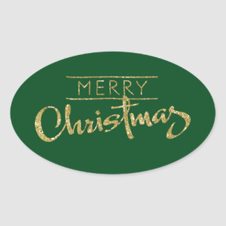 Merry Christmas Gold Glitter Look Oval Sticker