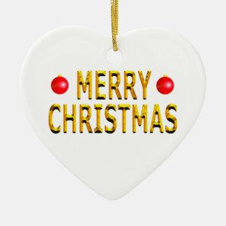 Merry Christmas Gold Heart Christmas Ornament