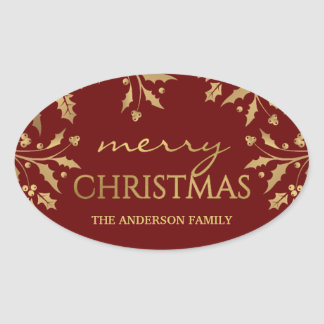 Merry Christmas Gold Holiday Holly Faux Foil Oval Sticker