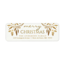 Merry Christmas Gold Holiday Holly Return Address Label