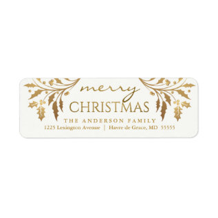 Merry Christmas Gold Holiday Holly Return Address Label at Zazzle