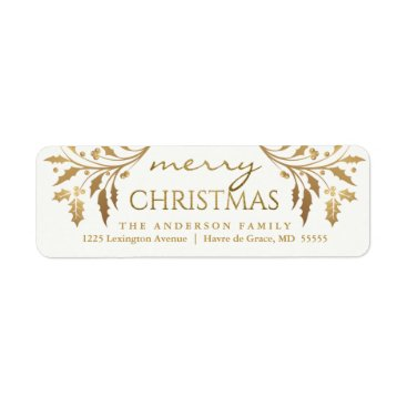 Christmas Themed Merry Christmas Gold Holiday Holly Return Address Label