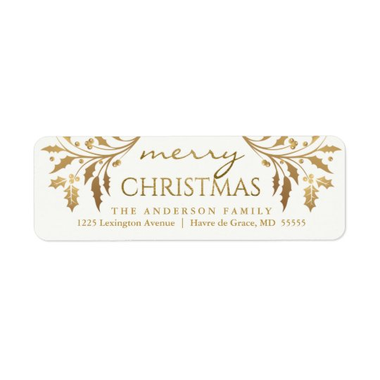 merry christmas gold holiday holly return address label zazzle com