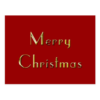 Merry Christmas: Gold Metal Embossed on Red Postcard