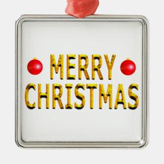 Merry Christmas Gold Square Metal Christmas Ornament
