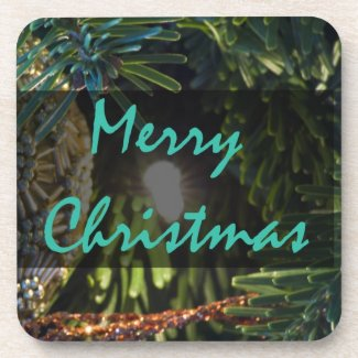 Merry Christmas Gold Ornament Drink Coaster