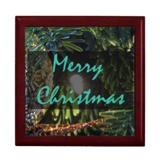 Merry Christmas Gold Ornament Gift Box