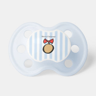 Merry Christmas Gold Ornament Pacifier Blue 2