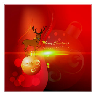 Merry Christmas, gold, red elegant background Print