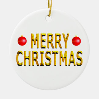 Merry Christmas Gold Round Christmas Ornament