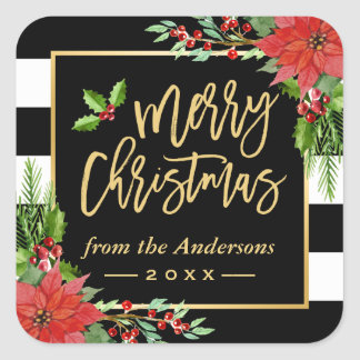Merry Christmas Gold Script Lettering Floral Decor Square Sticker