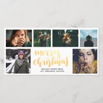 Merry Christmas Gold Script Six Photo Collage Holiday Card