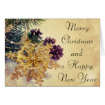 Merry Christmas gold star ornament greeting card