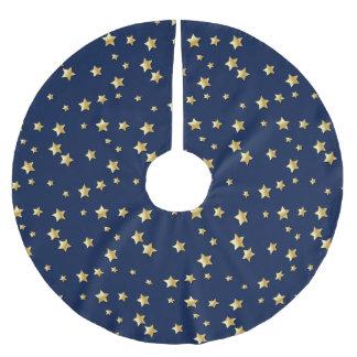 Merry Christmas Gold Stars On Dark Blue Background Brushed Polyester Tree Skirt