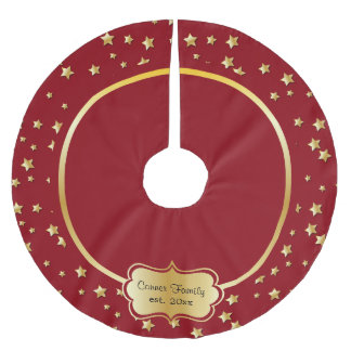 Merry Christmas Gold Stars On Dark Red Background Brushed Polyester Tree Skirt