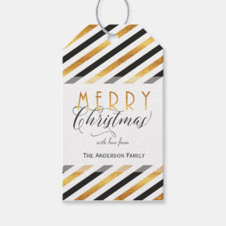 Merry Christmas gold stripes gift tags