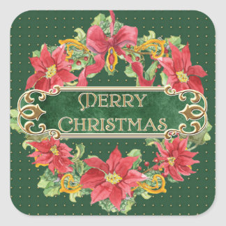 Merry Christmas Gold Swirl Poinsettia Wreath Jewel Square Sticker