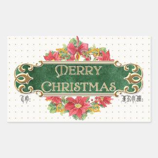 Merry Christmas Gold Swirl Poinsettia Wreath Jewel Rectangle Sticker