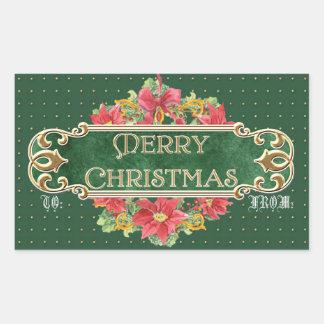 Merry Christmas Gold Swirl Poinsettia Wreath Jewel Rectangle Stickers