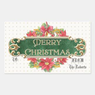 Merry Christmas Gold Swirl Poinsettia Wreath Jewel Rectangular Stickers
