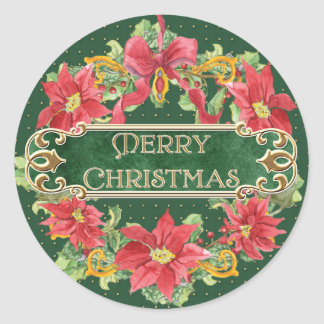 Merry Christmas Gold Swirl Poinsettia Wreath Jewel Stickers