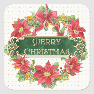 Merry Christmas Gold Swirl Poinsettia Wreath Jewel Square Sticker