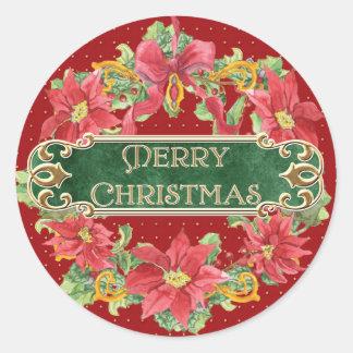 Merry Christmas Gold Swirl Poinsettia Wreath Jewel Round Stickers