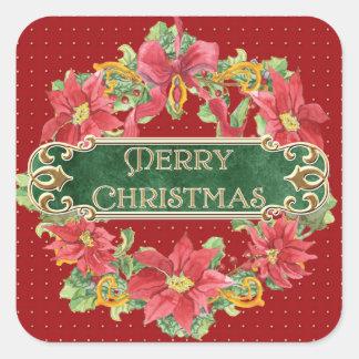 Merry Christmas Gold Swirl Poinsettia Wreath Jewel Sticker